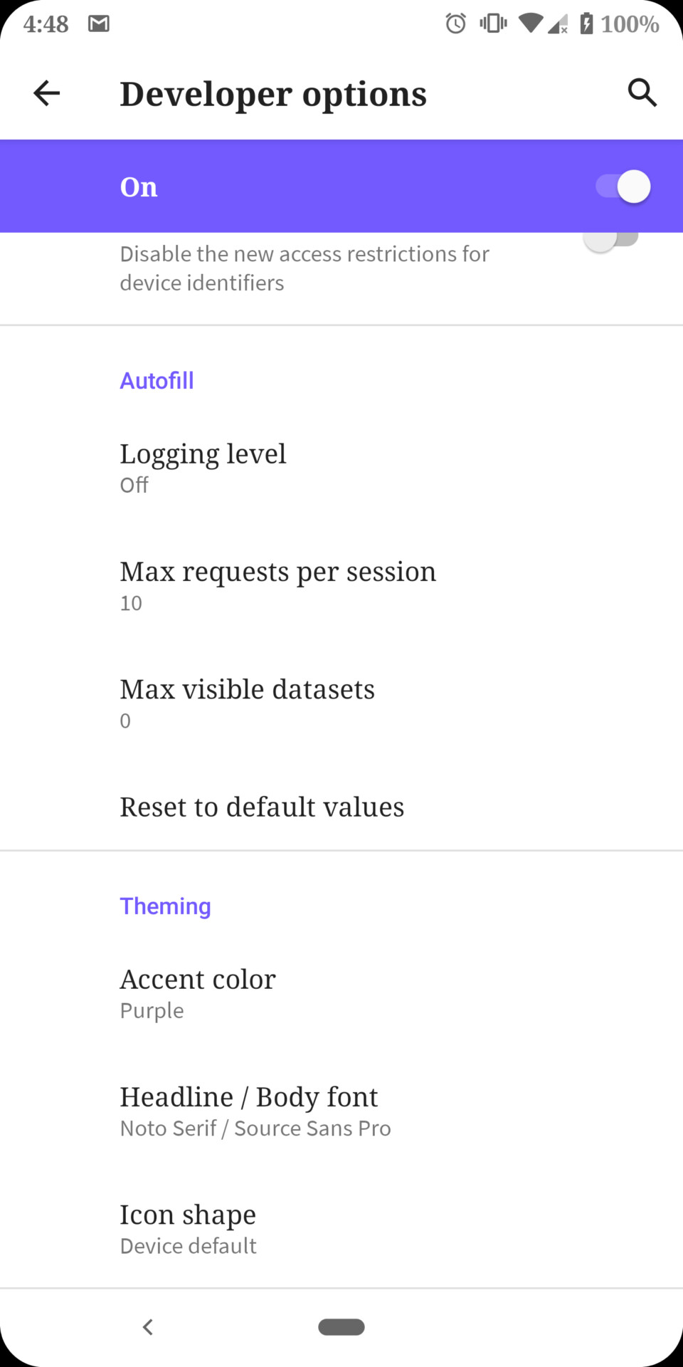 Android Q - Theming Options