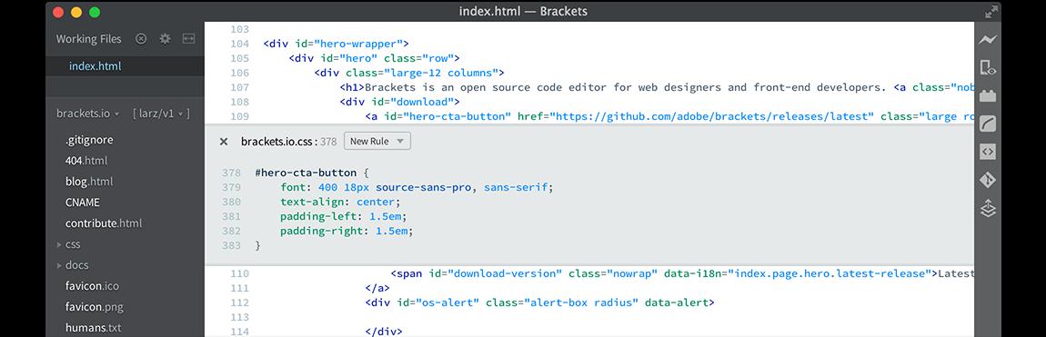 Brackets - WordPress Text Editor