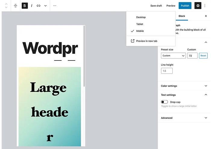 WordPress 5.5 - Device Previews