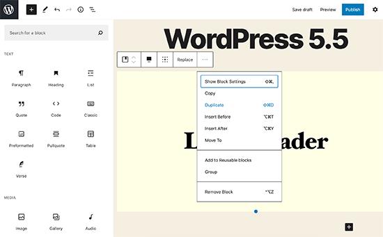 WordPress 5.5 - UI Improvements